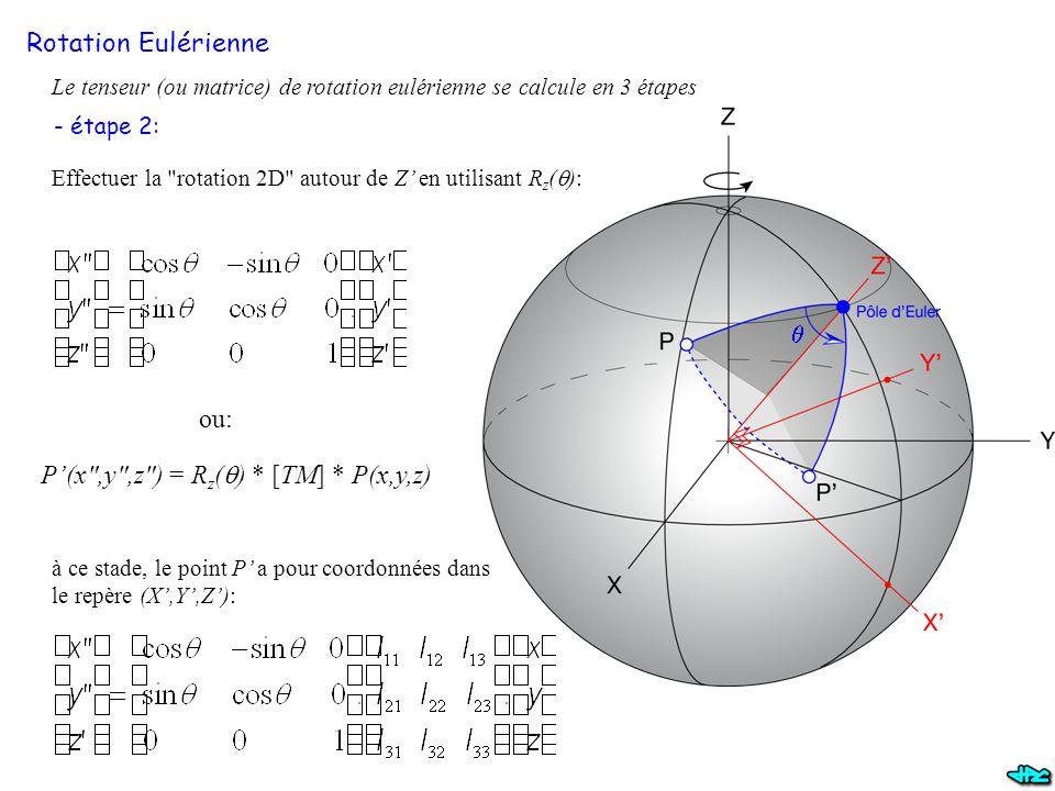 P'(x ,y ,z ) = Rz(q) * [TM] * P(x,y,z)